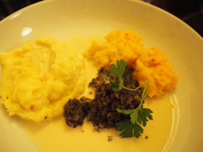 Haggis, neeps and tatties smothered in whisky cream sauce