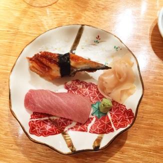 Eel and tuna nigiri