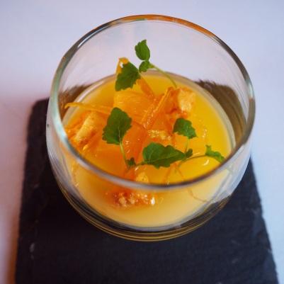 Pre-dessert - camomile panacotta and orange jelly