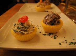 Spinach/ricotta and mushroom 'cupcakes'