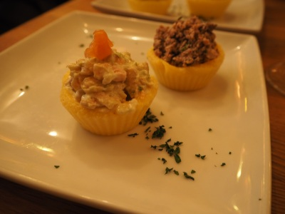 Salmon and beef 'cupcakes'