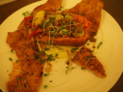 Sweet potato with lentil salad and crispy flatbread