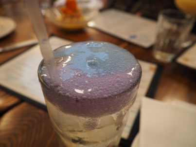 Blue tea foam