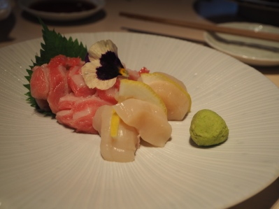 Fatty tuna and scallop sashimi
