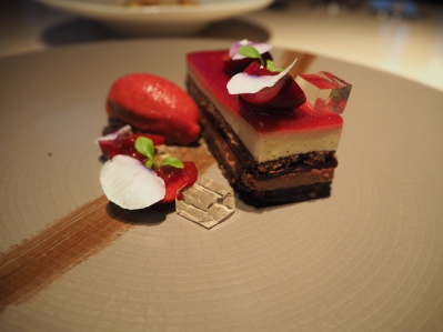 Cherry chocolate and vanilla sake mousse, cherry sorbet