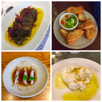 Clockwise from top left: leeks in vinaigrette (Barrafina), halloumi fries (Barbary), burrata (Padella), raw langoustine (Bao)